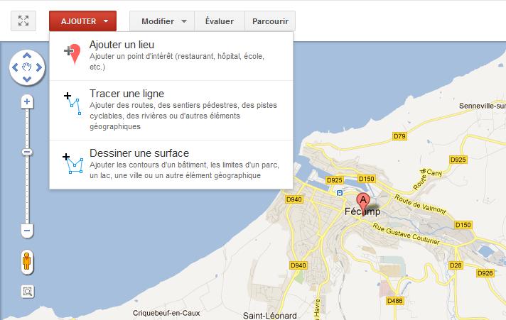 L'outil ajout de lieu de Google Map Maker