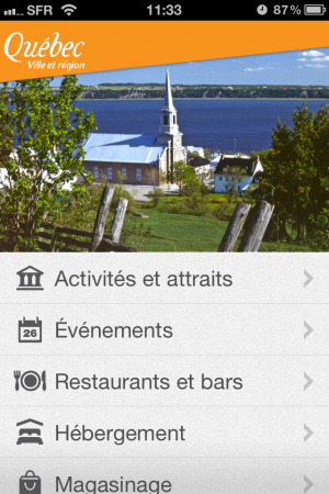 Application iPhone Qubec Tourisme