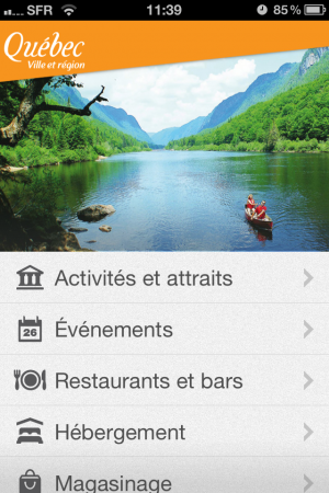 Application iPhone Québec Tourisme