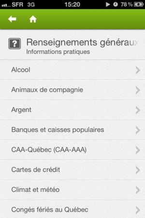 Renseignements généraux de l'application iPhone Québec Tourisme