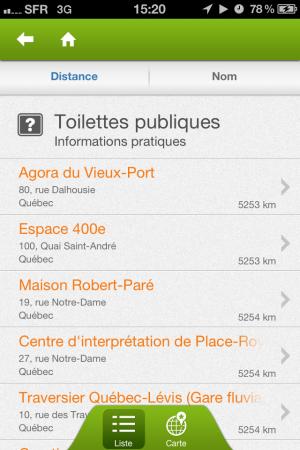Les toilettes publiques sur l'application iPhone Québec Tourisme