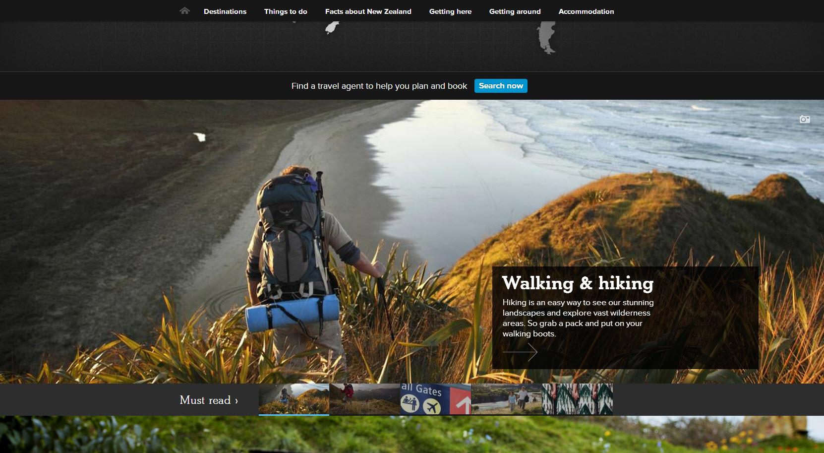 Nouvelle-Zélande activité en page d'accueil