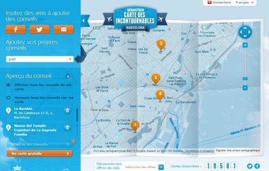 Carte touristique personnalisée et sociale vue par KML