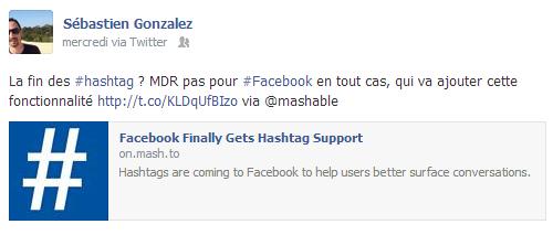 Exemple d'utilisation du hashtag sur Facebook
