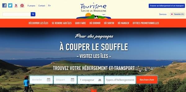 Site adaptatif Tourisme Îles de la Madeleine