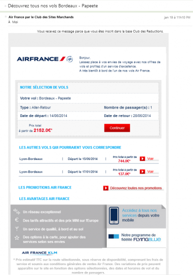 Email retargeting Air France