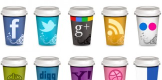 Land of web, coffee cup icons