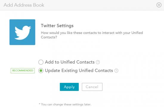 Choix de créer de nouveaux contacts ou de simplement fusionner avec les contacts existants