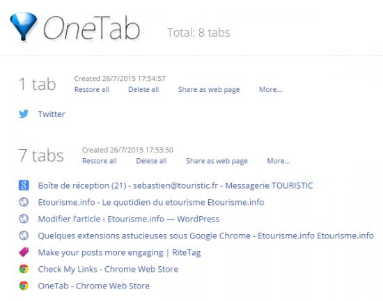 Utilisation de One Tab
