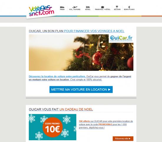 Newsletter SNCF Ouicar