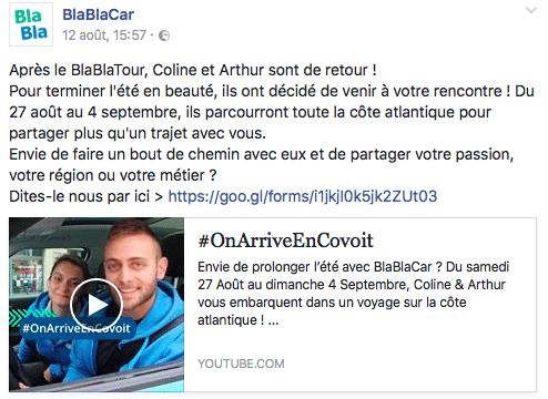 #onarriveencovoit Blablacar facebook