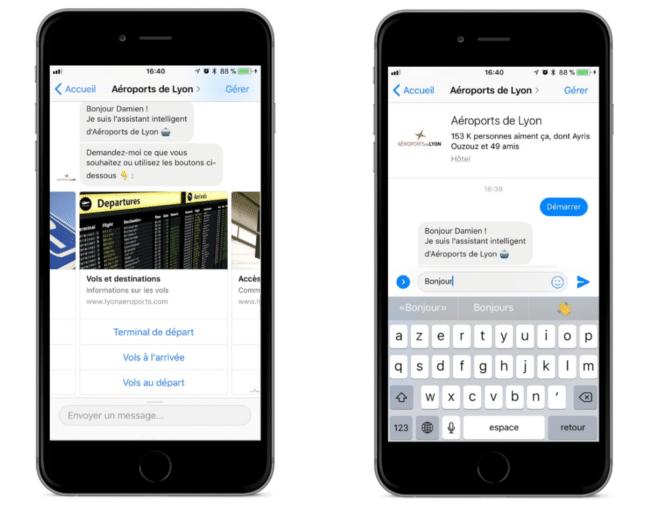 Chatbot messenger de l'aéroport de Lyon