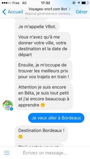 Chatbot de Voyages SNCF