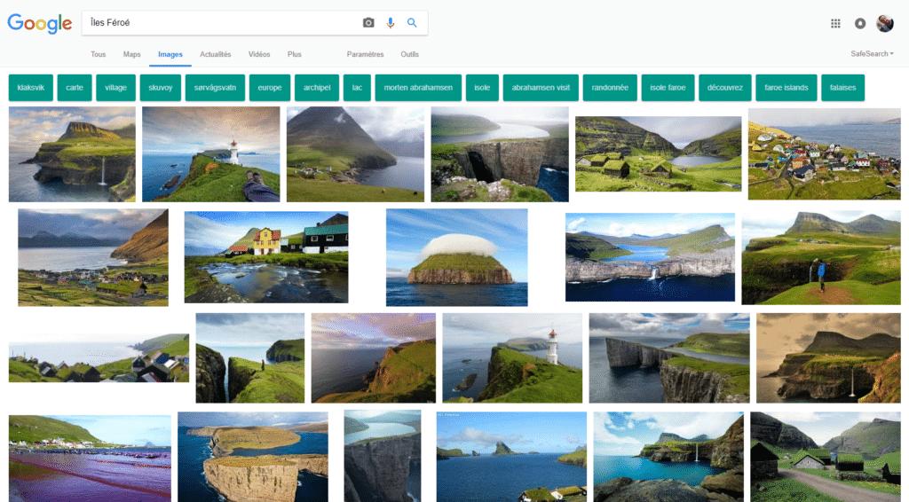 Les ÎlesFéroé vues par Google Images