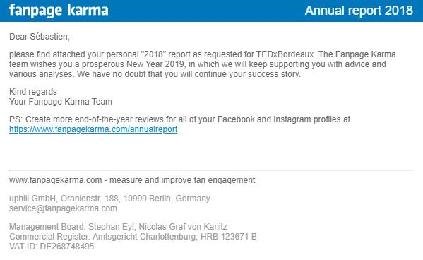 Email reçu de Fanpage Karma