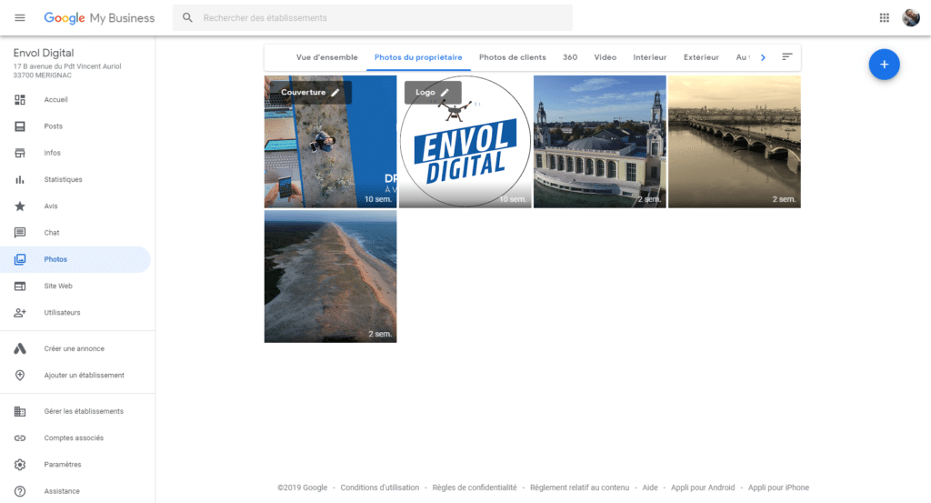 Photos de la fiche Google My Business