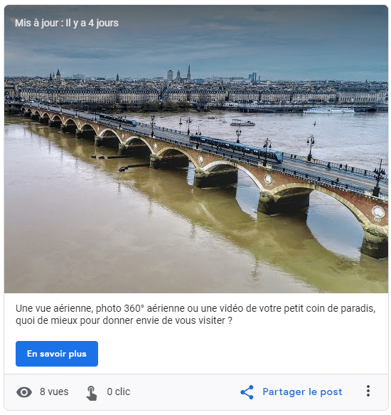 Exemple de post sur une fiche Google My Business