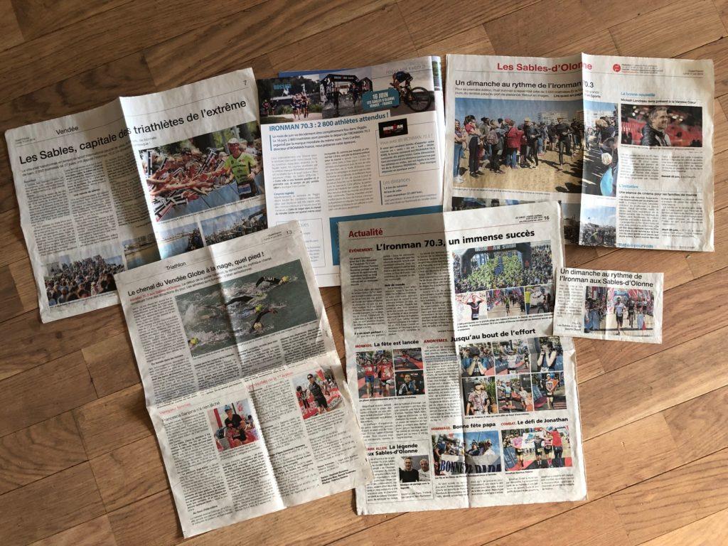 Extraits des quelques revues de presse glanés avant et après l'évènement de l'half Ironman des Sables d'Olonne