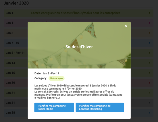 Calendrier marketing 2020 semrush