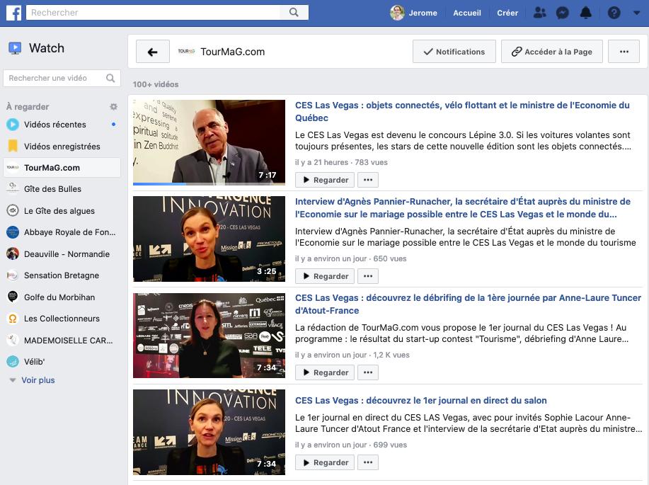chaine facebook watch de tourmag proposant de nombreuses vidéos sur le CES 2020