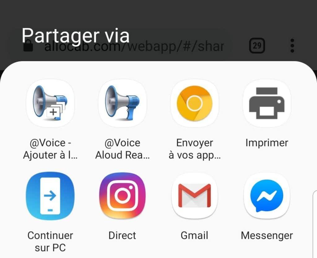 La fonctionnalité de partage avec Voice Aloud Reader