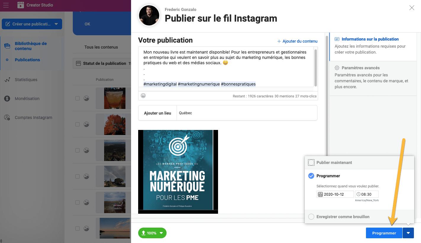 Planifier une publication Instagram avec Creator Studio