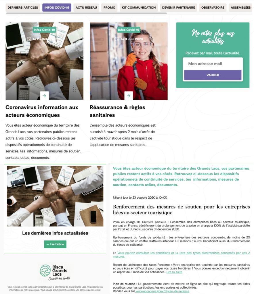 Protocoles sanitaire covid19 diffusés sur le site internet d'office de tourisme, à l'attention des acteurs economiques de leurs territoire pendant le confinement