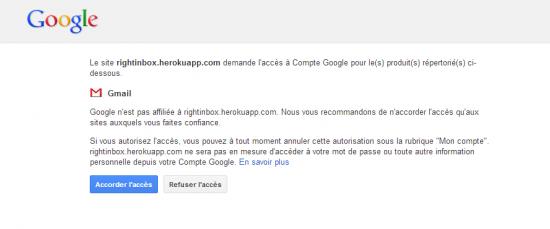 Accorder l'accès à votre compte Gmail