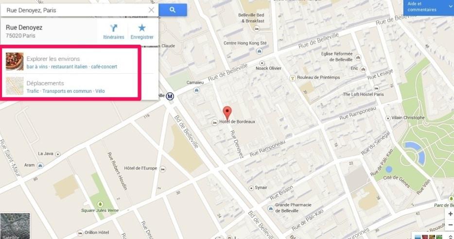 """Fonction""""Explorer"""" de Google Maps"""