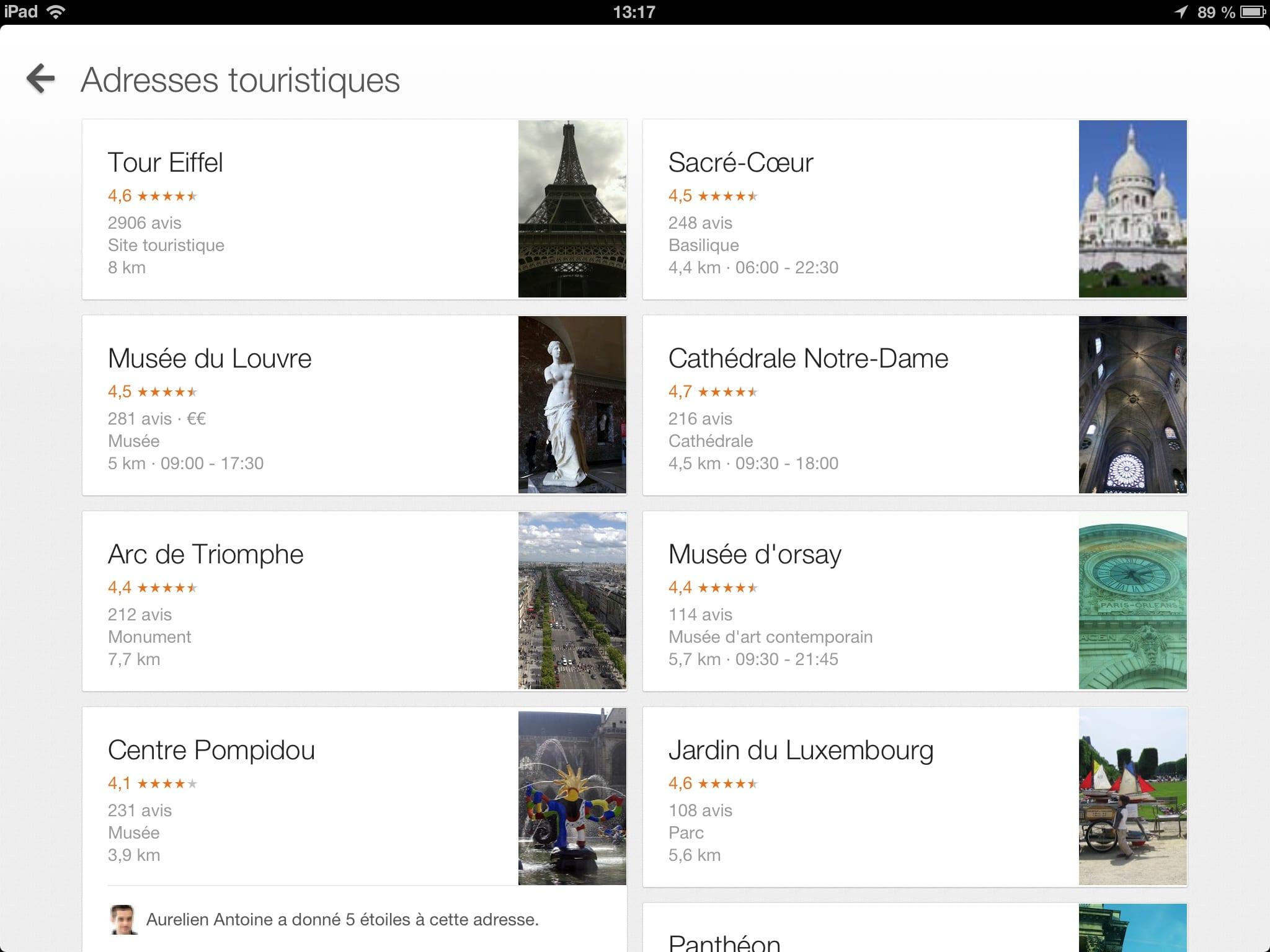 Adresses touristiques sur google maps