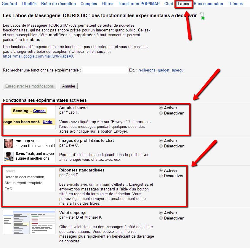 Activer les fonctionnalités dans le labo de Gmail