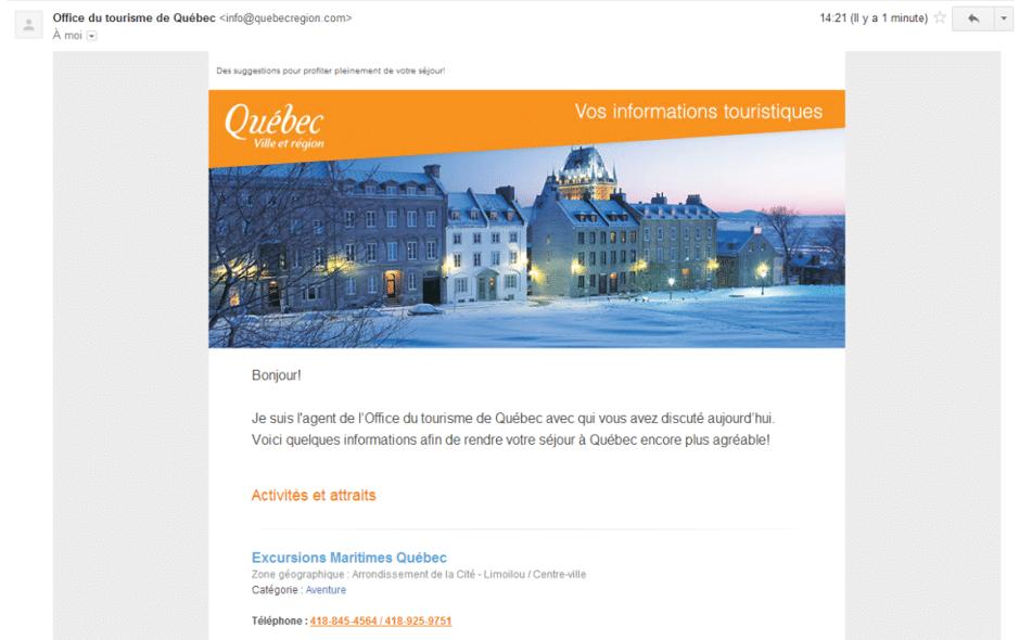 Courriel Tourisme Québec