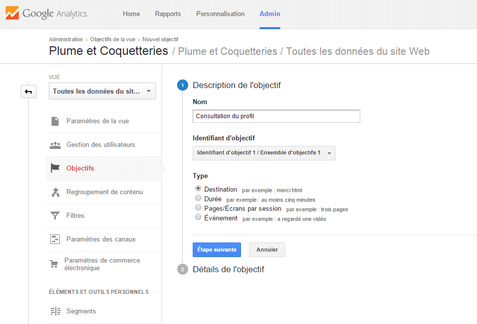 Description de l'objectif sur Google Analytics