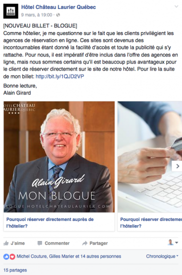 Page Facebook de l'Hôtel Chateau Laurier de Québec