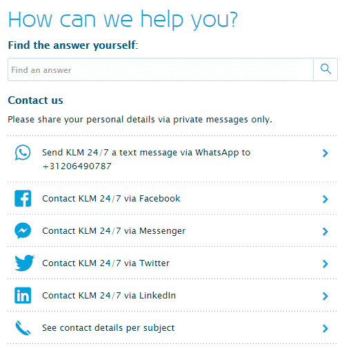 KLM contacts