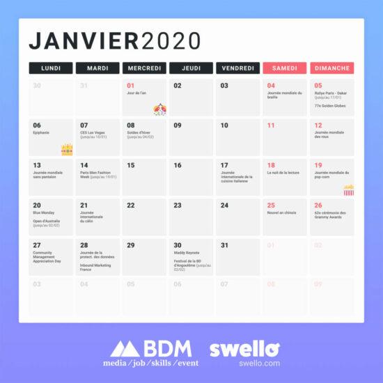 Calendrier marketing 2020 blog du moderateur