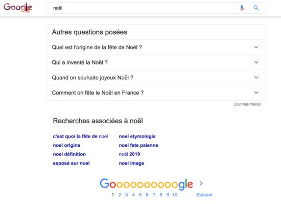 Recherches associés de Google