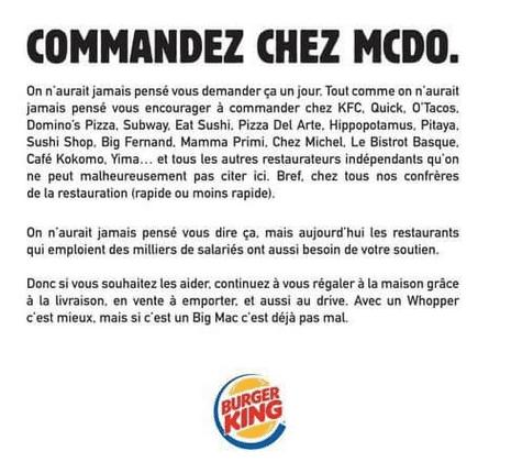 Publication de Burger King France sur les médias sociaux