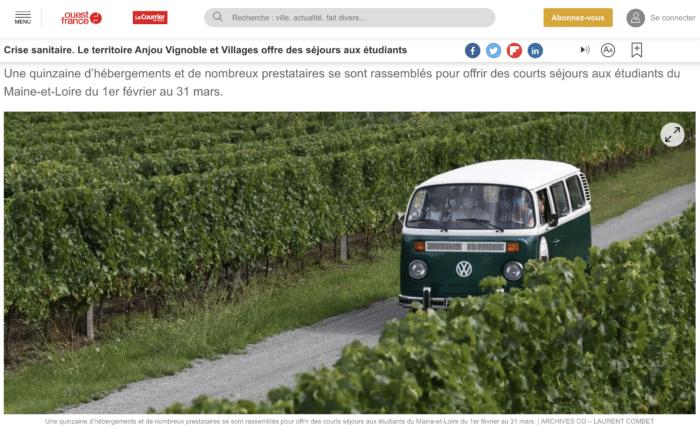 La presse en parle : article Ouest France sur l'initiative séjours gratuis pour les étudiants
