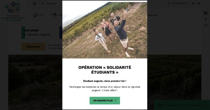 Illustration de l'initiative lancée sur le site internet de l'OGD d'Anjou Vignobles et Villages