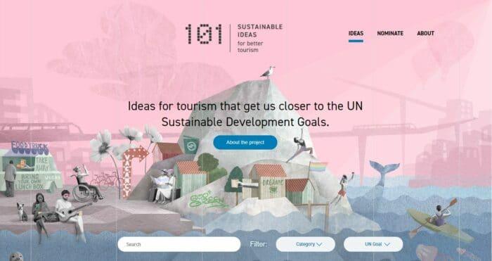 """Page d'accueil du site """"101 sustainable ideas"""" présentant des projets touristiques inspirants du monde entier"""